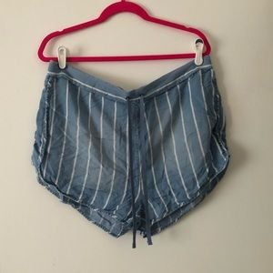 Striped Soft Denim Shorts